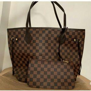 Louis Vuitton Neverfull 2pcs Tote Bag Set Ebene